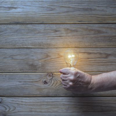 lightbulb hold in hand on wooden background